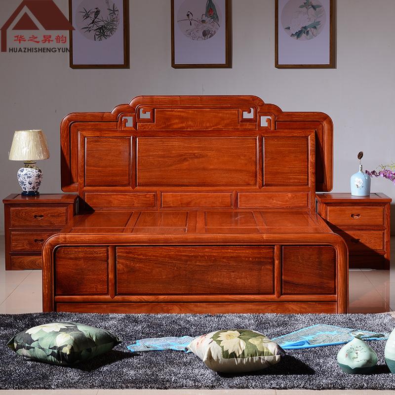 缅甸花梨木床 3件套 大果紫檀
