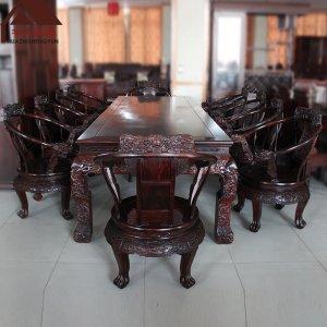 印尼黑酸枝會議桌  雕龍 正宗闊葉黃檀
