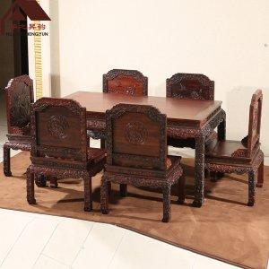 老挝大红酸枝餐桌 荷花 7件套 交趾黄檀