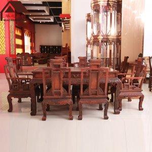 老挝大红酸枝餐桌 卷书 7件套 交趾黄檀