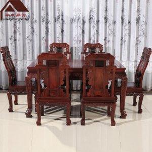 老挝红酸枝餐桌 7件套