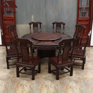 印尼黑酸枝圆餐桌 荣华富贵 多规格可选 正宗阔叶黄檀