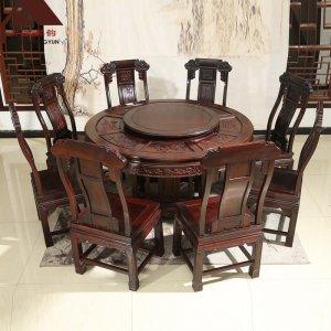 印尼黑酸枝圆餐桌 麒麟 多规格可选 正宗阔叶黄檀