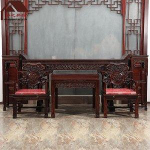 印尼黑酸枝中堂 供桌 6件套 正宗阔叶黄檀