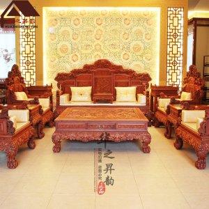 缅甸花梨木沙发 雕龙 7件套/11件套 大果紫檀