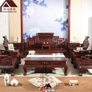 老挝大红酸枝沙发 卷书 7件套/11件套 交趾黄檀