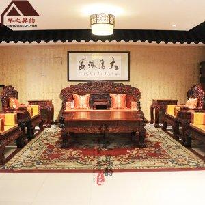 老挝大红酸枝沙发 麒麟宝座 7件套/11件套 交趾黄檀