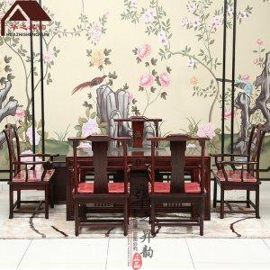 印尼黑酸枝茶桌 新中式 7件套 正宗阔叶黄檀