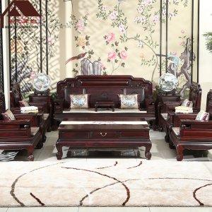 印尼黑酸枝沙发 新款国色天香 11件套 正宗阔叶黄檀