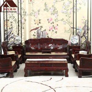 印尼黑酸枝沙发 影雕 7件套/11件套 正宗阔叶黄檀