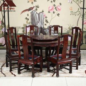 印尼黑酸枝圆餐桌 影雕 多规格可选 正宗阔叶黄檀