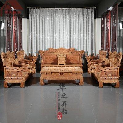 缅甸花梨木沙发 手工深雕 麒麟  7件套/11件套 大果紫檀