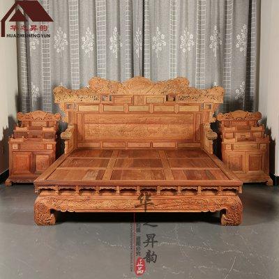 缅甸花梨木大床 手工深雕 麒麟 1.8米双人大床 大果紫檀 3件套