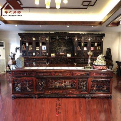 老挝大红酸枝大班台 书桌 书柜