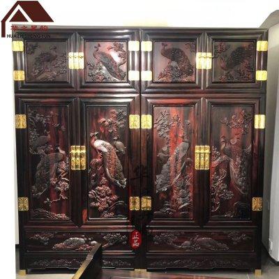 老挝大红酸枝顶箱柜 手工深雕孔雀