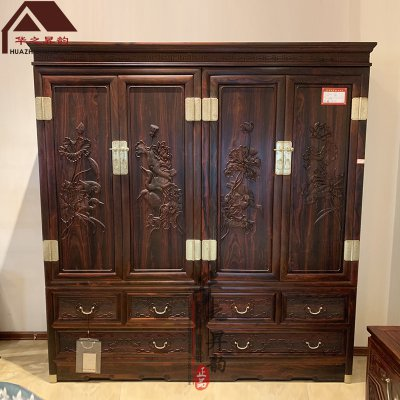 老挝大红酸枝衣柜 荷花