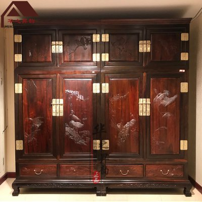 老挝大红酸枝顶箱柜 檀雕花鸟