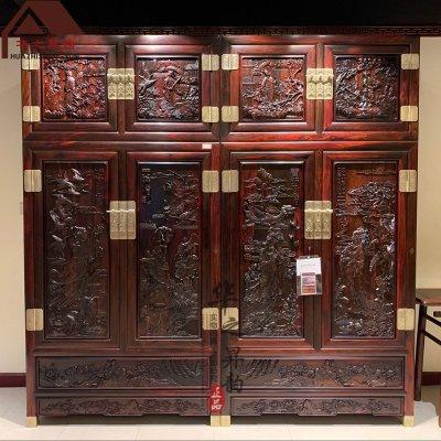 老挝大红酸枝顶箱柜 手工雕刻 四大美女