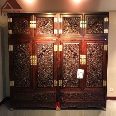 老挝大红酸枝顶箱柜 雕龙 手工深雕