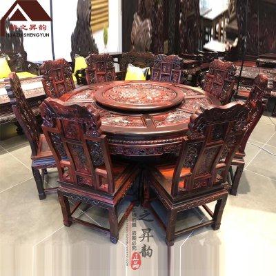 老挝大红酸枝圆餐桌 手工深雕