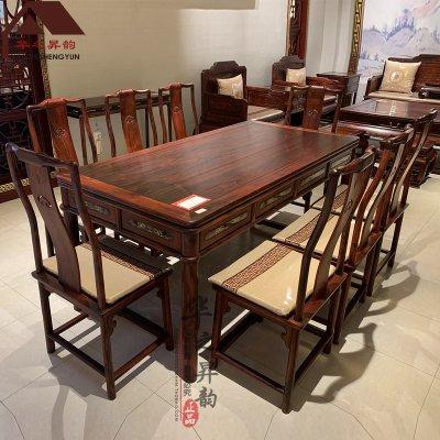 老挝大红酸枝西餐桌 加长