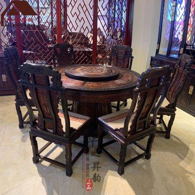 老挝大红酸枝圆餐桌 标云