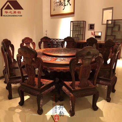 老挝大红酸枝圆餐桌 百子 手工深雕