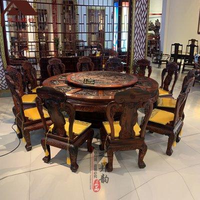 老挝大红酸枝圆餐桌 国宝熊猫 手工深雕