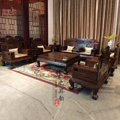 老挝大红酸枝沙发 财源滚滚 7件套/11件套