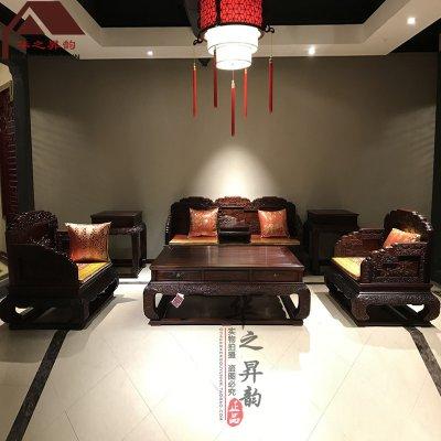 老挝大红酸枝沙发 荷花 7件套/11件套
