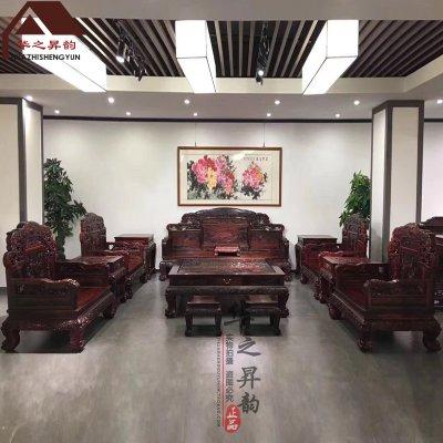 老挝大红酸枝沙发 如意 7件套/11件套