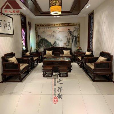 老挝大红酸枝沙发 松鹤延年 7件套/11件套