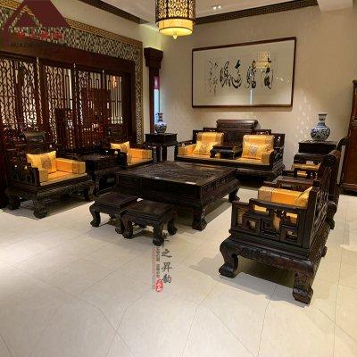 老挝大红酸枝沙发 大款卷书 7件套/11件套